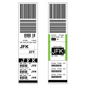 Sticky baggage label with JFK New York airport sign, hand luggage tag template
