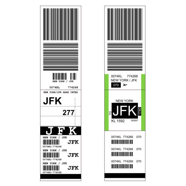 Sticky baggage label with JFK New York airport sign, hand luggage tag template Sticky baggage label with JFK New York airport sign, hand luggage tag template luggage stock illustrations