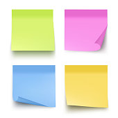 Sticky colored notes. Post note paper vector realistic pictures isolated. Illustration of memo message blank, reminder announcement