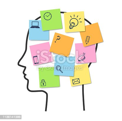 istock Sticky note and icon on human face 1136141386