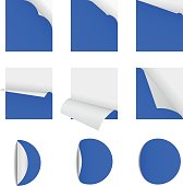 sticky note  papers with page curl Set of blank paper