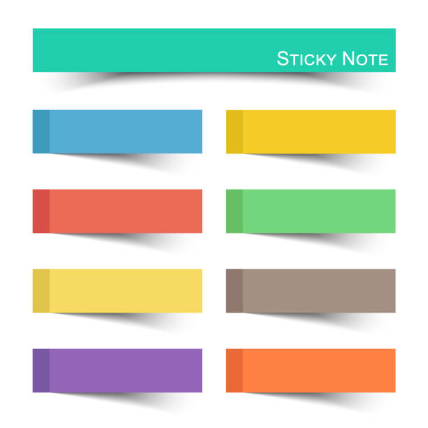 Sticky note with flat color . Vector vector art illustration