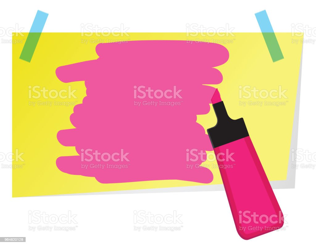 Sticky note with pink highlighter pen and shading to highlight text. royalty-free sticky note with pink highlighter pen and shading to highlight text stock vector art & more images of blank