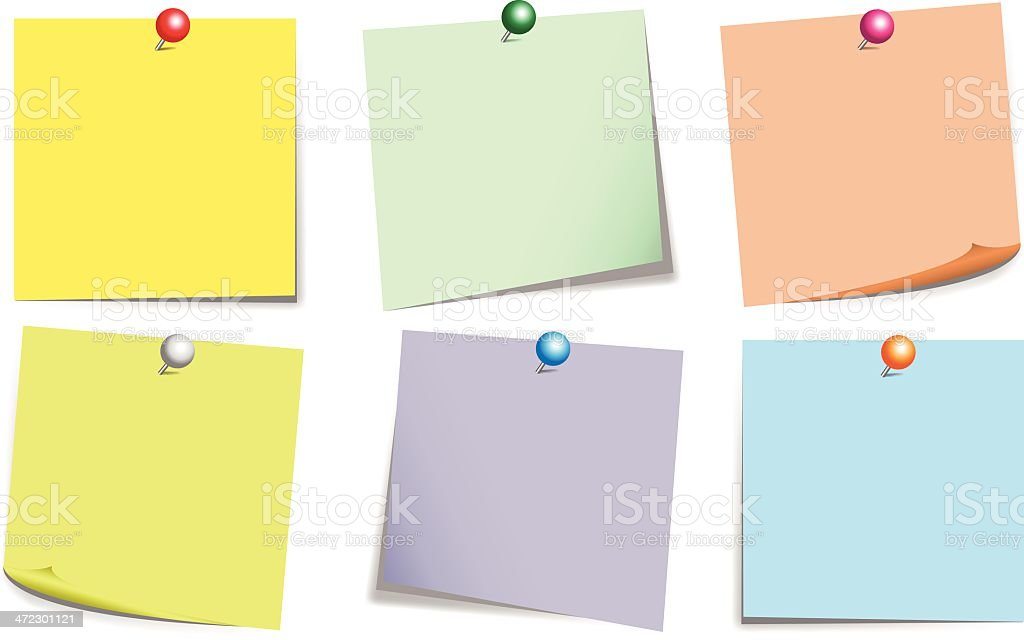 Sticky Notes Color Set With Push Pin royalty-free stock vector art