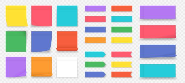 sticky notes. paper colored square reminders isolated on transparent background, empty notebook page. vector paper sheet and notepad - post it notes stock illustrations