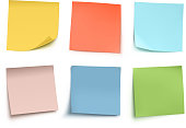 Vector illustration of multicolor sticky notes isolated on white background.