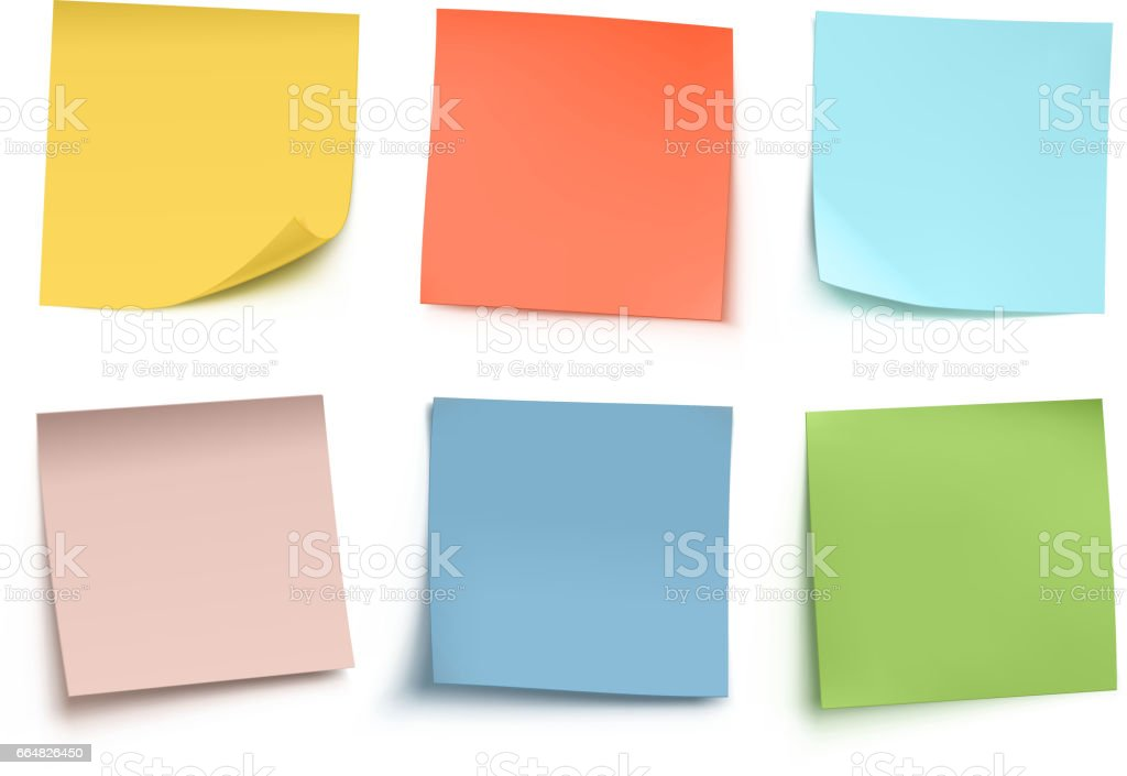 Sticky notes vector art illustration