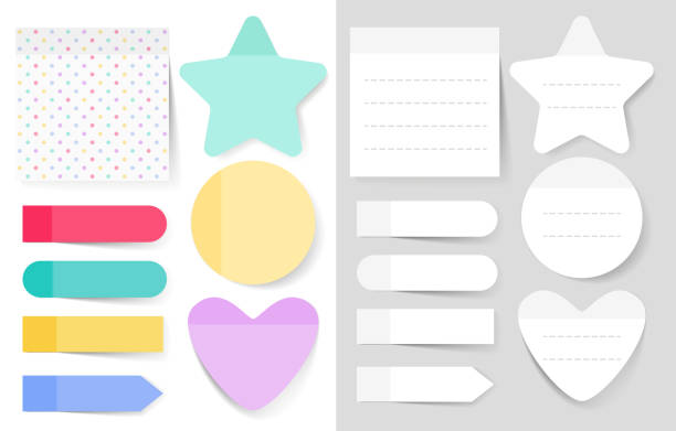 Sticky notes vector illustrations set vector art illustration