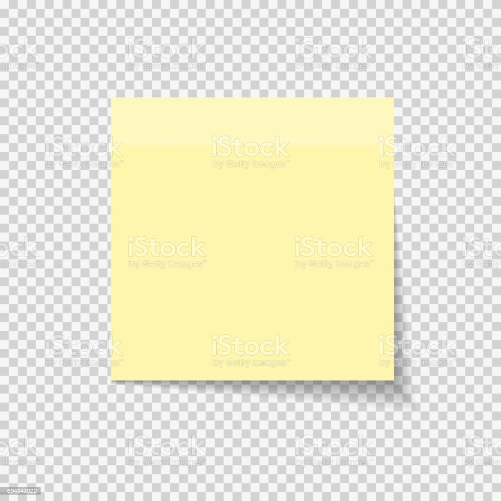 Klebrigen Papier Hinweis auf transparenten Hintergrund Vektor Illustratio - Lizenzfrei Brief - Dokument Vektorgrafik