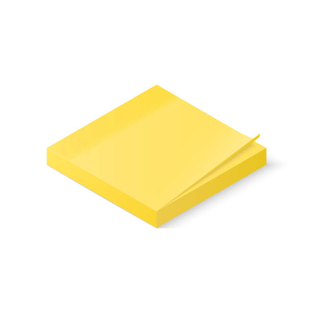 sticky paper notes stack isolated on white background. isometric vector illustration - post it notes stock illustrations