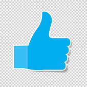 Sticky Paper Thumbs Up Sign Note on Transparent Background  Vector Illustratio