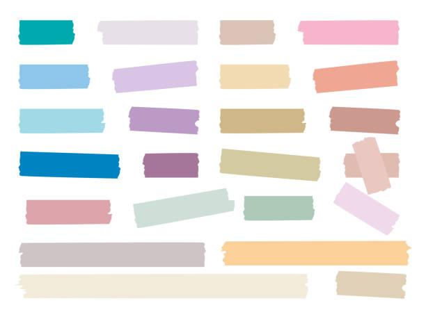 ilustraciones, imágenes clip art, dibujos animados e iconos de stock de tiras pegajosas. coloreado cinta decorativa mini washi pegatina decoración vector set - tape
