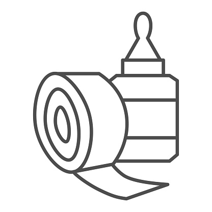 Sticky tape and glue bottle thin line icon, stationery concept, gluing tools sign on white background, scotch tape and glue symbol in outline style for mobile and web. Vector graphics.