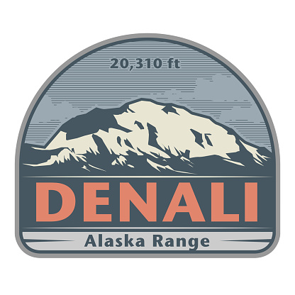 Stiker or label with Denali (also known as Mount McKinley) mountain peak