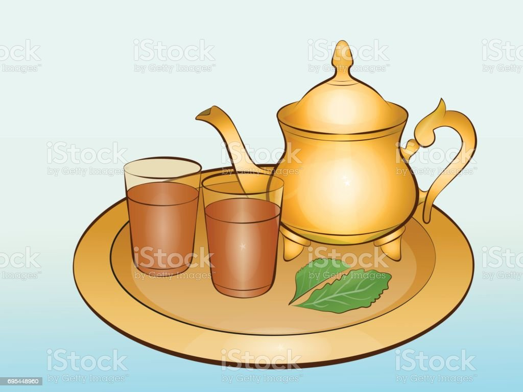 Still life with teapot and two tea glassfuls vector art illustration