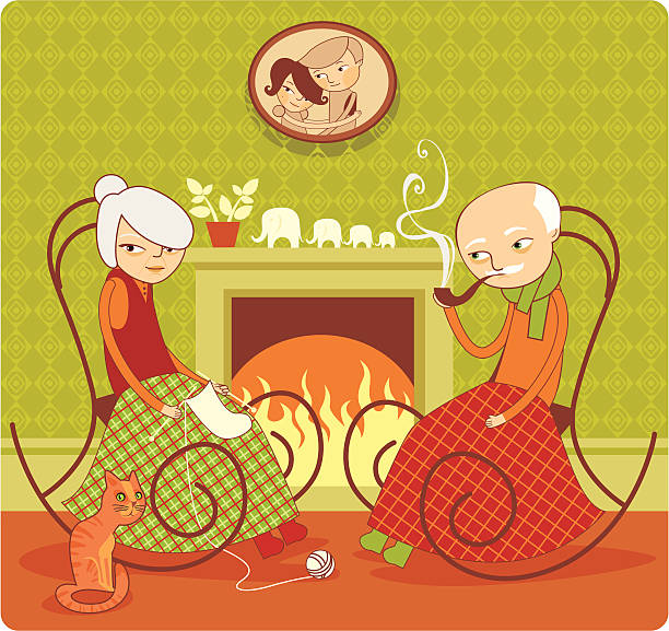 still together - old man in rocking chair cartoons stock illustrations, clip art, cartoons, & icons
