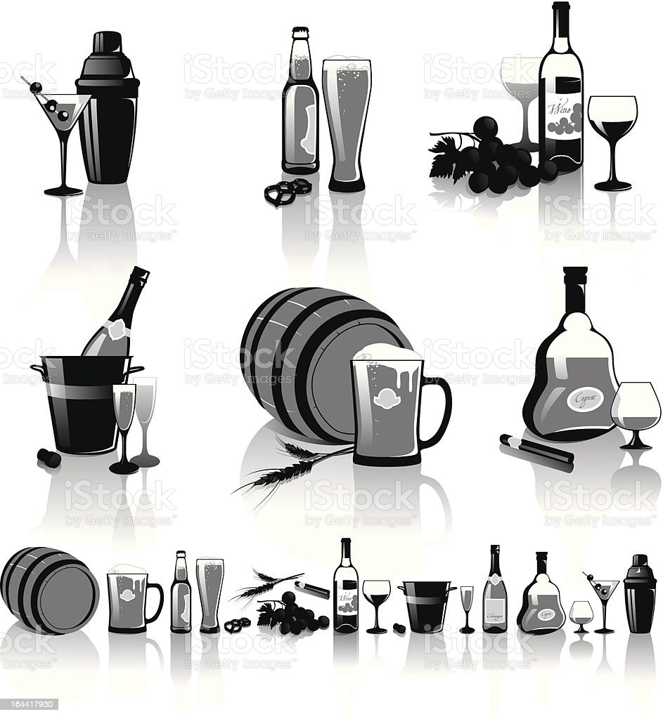 Still-life of spirits and glasses vector art illustration