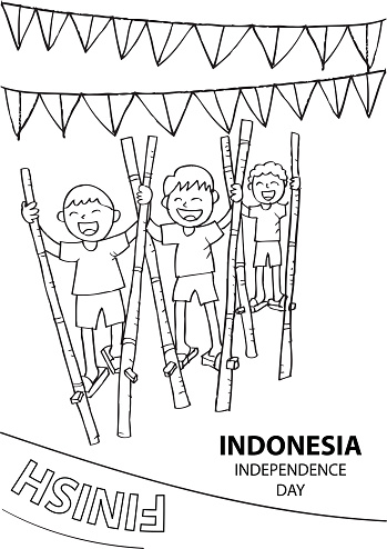 Stilts Race Game To Celebrate Indonesia Independence Day