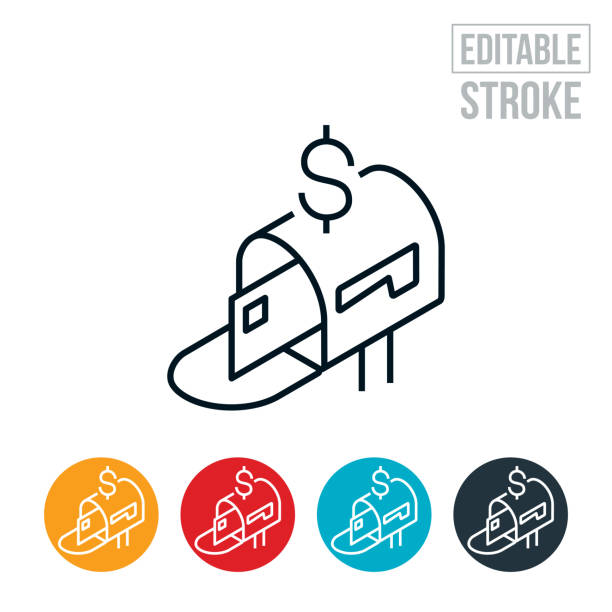 Stimulus Check In Mailbox Thin Line Icon - Editable Stroke An icon of a stimulus check in a mailbox. The icon represents a person required to make a choice on what path to take. The icon includes editable strokes or outlines using the EPS vector file. stimulus check stock illustrations