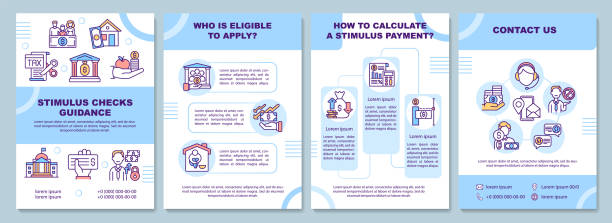 Stimulus checks guidance brochure template Stimulus checks guidance brochure template. Eligible to apply. Flyer, booklet, leaflet print, cover design with linear icons. Vector layouts for magazines, annual reports, advertising posters stimulus check stock illustrations