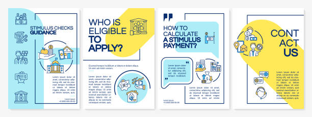 Stimulus checks guidance brochure template Stimulus checks guidance brochure template. Calculate stimulus payment. Flyer, booklet, leaflet print, cover design with linear icons. Vector layouts for magazines, annual reports, advertising posters stimulus check stock illustrations
