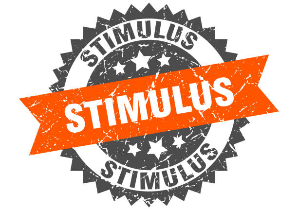 stimulus stamp. grunge round sign with ribbon stimulus stamp. round grunge sign with ribbon stimulus check stock illustrations