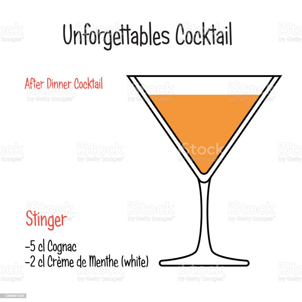 Stinger Alcoholic Cocktail Vector Illustration Recipe Isolated Stock