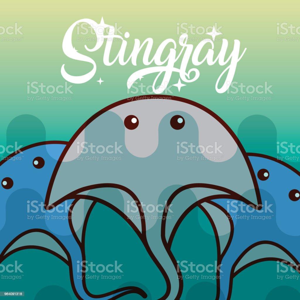 stingray sea life cartoon - Royalty-free Animal stock vector