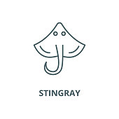 Stingray vector line icon, linear concept, outline sign, symbol