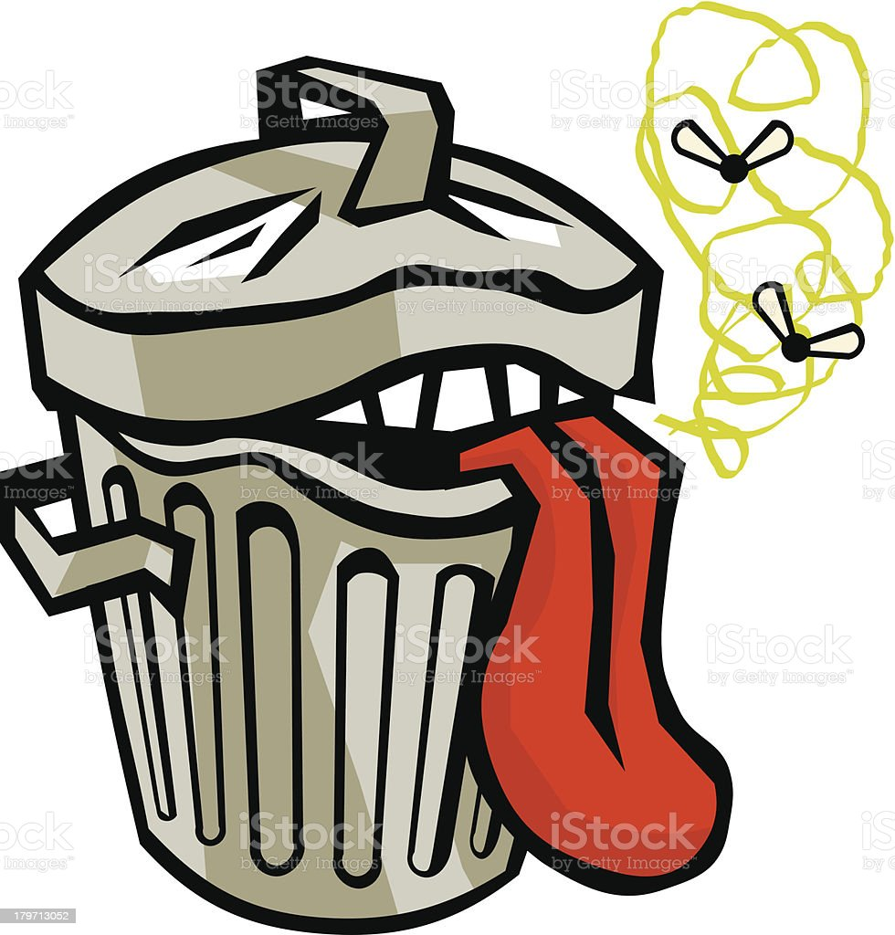 Stinky Garbage Can vector art illustration