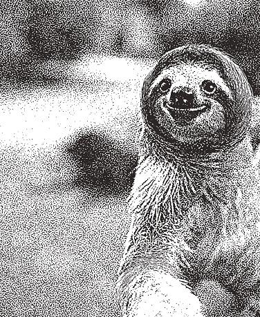 Stipple illustration of a Happy Sloth