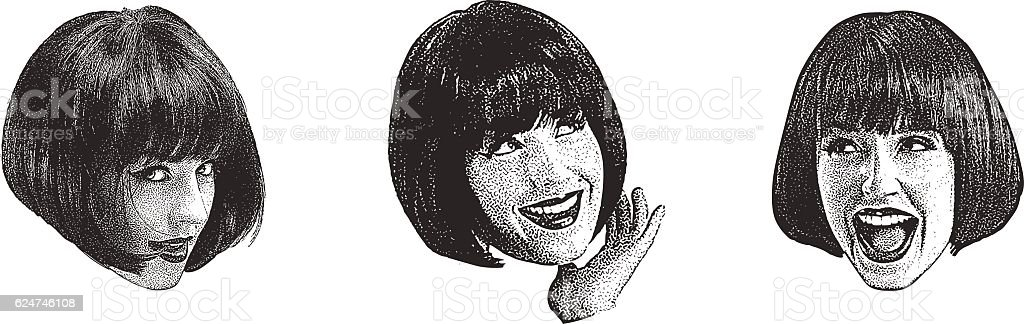 Stipple illustration of a woman making faces vector art illustration