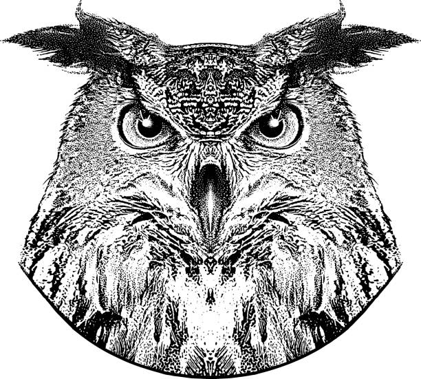 stipple portrait of a great horned owl - great horned owl stock illustrations, clip art, cartoons, & icons