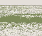 Stipple vector of a wave and surf