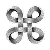 istock Stippled Bowen knot sign. Command key symbol. Vector textured illustration. 1126370676