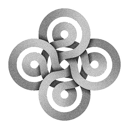 Stippled celtic cross sign made of two interwoven stripes. Vector illustration.