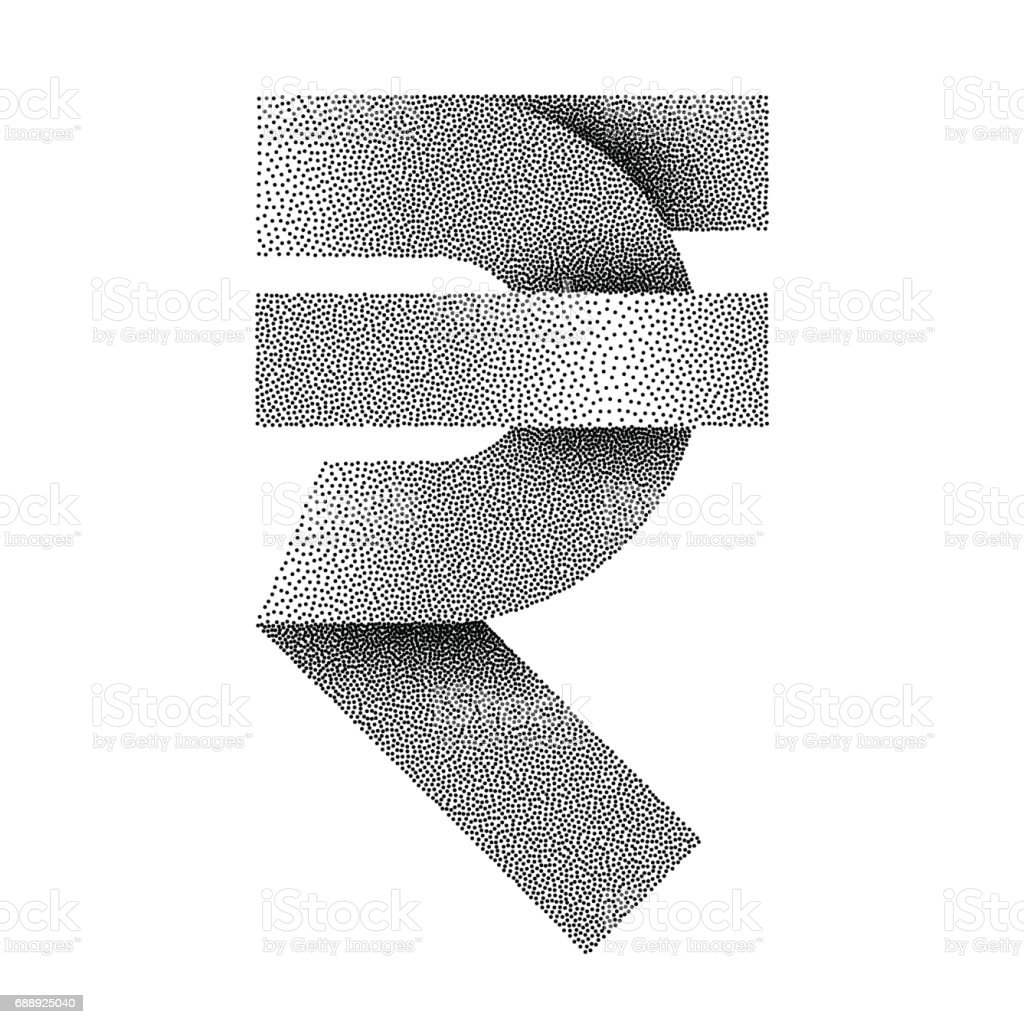 Stippled Indian Rupee Sign Icon Inr Currency Symbol Vector