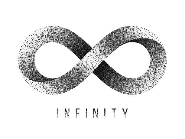 Stippled Infinity sign. Mobius strip symbol. Vector illustration. Stippled Infinity sign. Mobius strip symbol. Vector textured illustration on white background. eternity stock illustrations