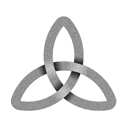 Stippled knot Triquetra made of intersected strip. Vector textured illustration.