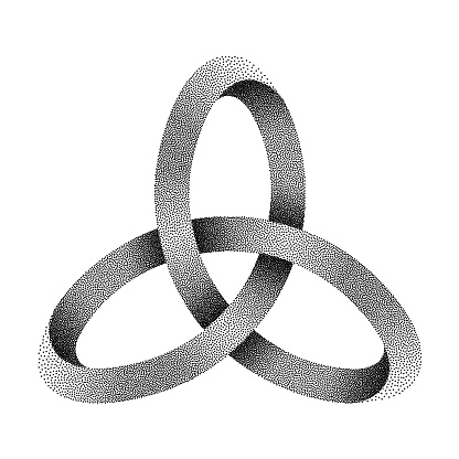 Stippled knot Triquetra made of mobius strip. Vector textured illustration.