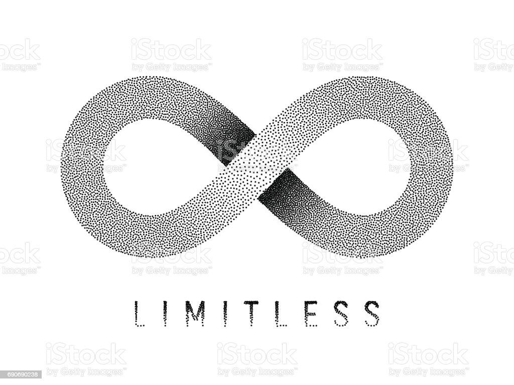 Stippled Limitless sign. Mobius strip symbol. Vector illustration. vector art illustration