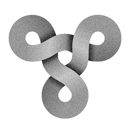 Stippled ram head symbol made of three combined rings. Vector illustration.