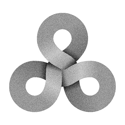 Stippled triquetra knot sign made of three combined rings. Vector illustration.