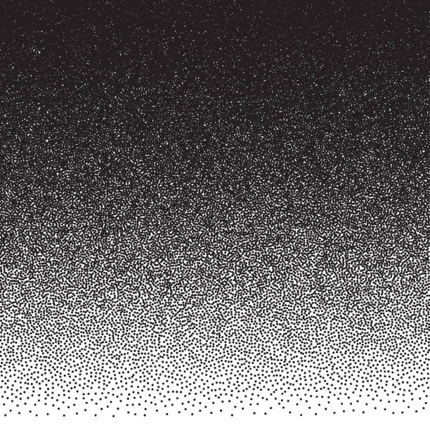 illustrazioni stock, clip art, cartoni animati e icone di tendenza di stippled vector texture gradient background - black dots on white - puntinismo