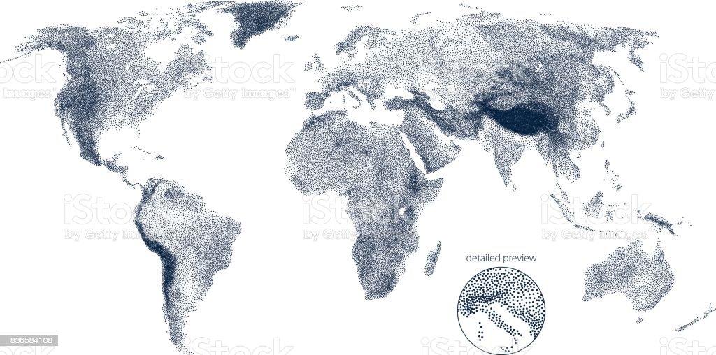 Stippled world relief vector map vector art illustration
