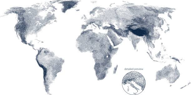 Stippled world relief vector map vector art illustration