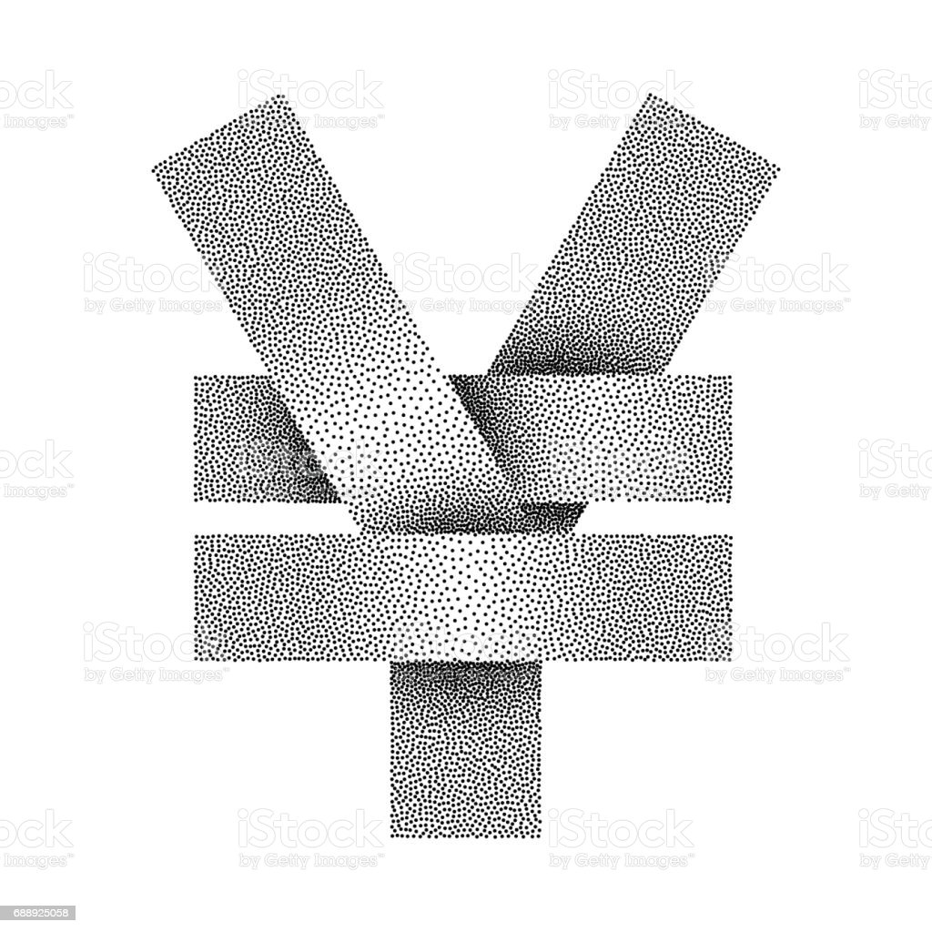 Stippled yuan and yen sign icon. Yuan or yen currency symbol. Vector illustration. vector art illustration