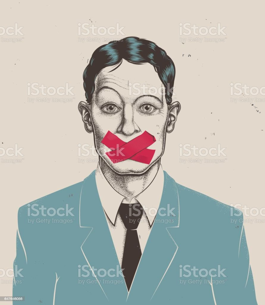 Stippling businessman tape on mouth