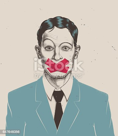 istock Stippling businessman tape on mouth 647646056