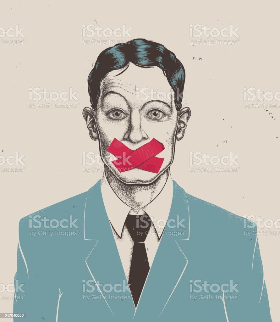 Stippling businessman tape on mouth vector art illustration